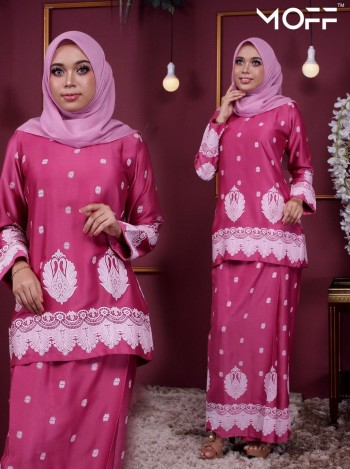 KURUNG SAREE SONIA HOT PINK - moff collection