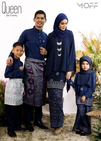 SET FAMILY KURUNG QUEEN NAVY BLUE - moff collection
