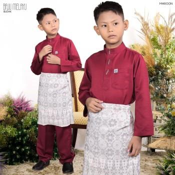 BAJU MELAYU BUDAK MAROON - moff collection
