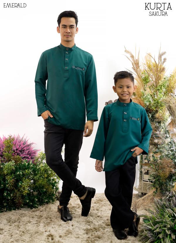 KURTA RAYYAN EMERALD GREEN - moff collection