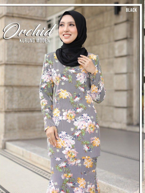 KURUNG MODEN ORCHID BLACK - moff collection