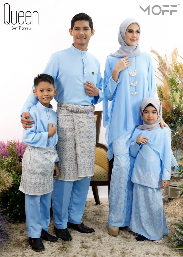 SET FAMILY KURUNG QUEEN BABY BLUE - moff collection