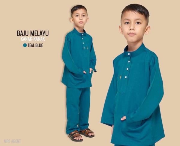 BAJU MELAYU BUDAK TEAL BLUE - moff collection