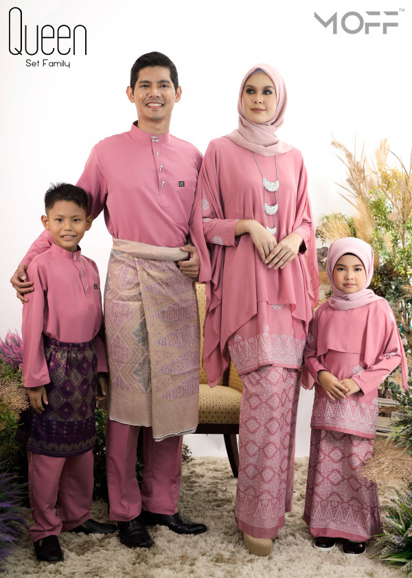 SET FAMILY KURUNG QUEEN DUSTY PINK - moff collection