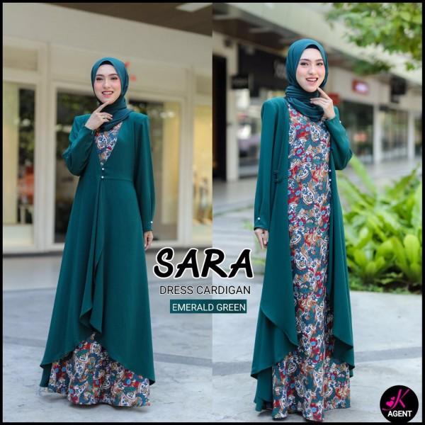 SARA DRESS CARDIGAN EMERALD - moff collection