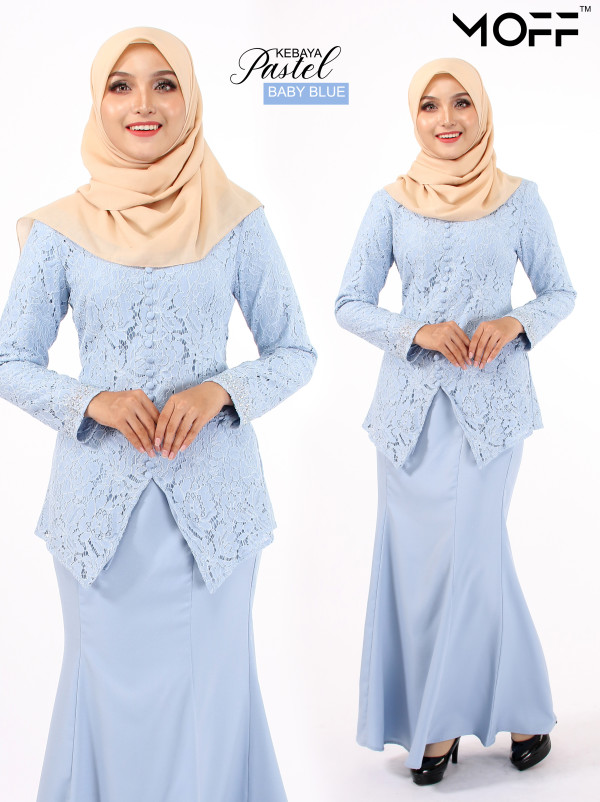 KURUNG MODEN PASTEL BABY BLUE - moff collection