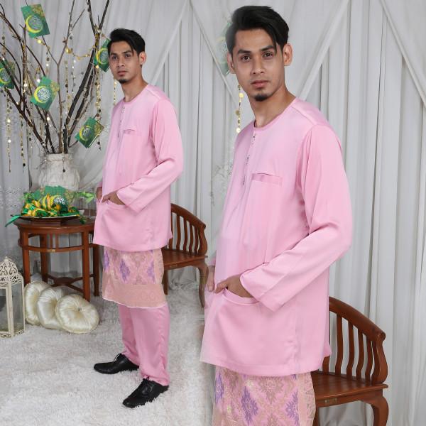 BAJU MELAYU TELUK BELANGA PINK - moff collection
