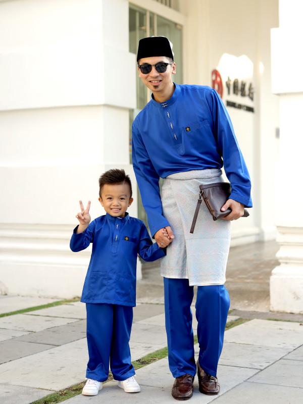 BAJU MELAYU PEARL SKIN ROYAL BLUE - moff collection
