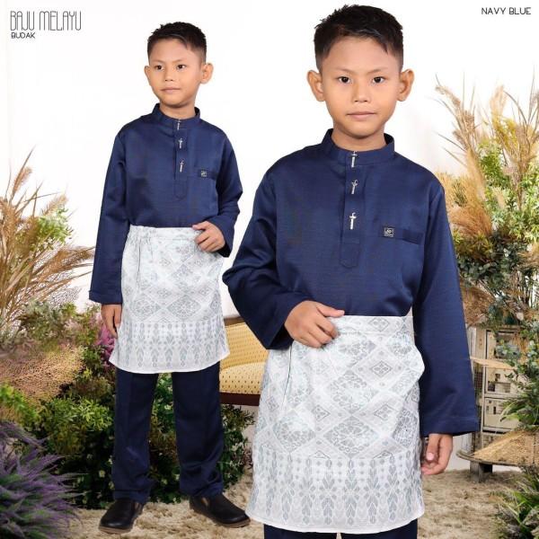 BAJU MELAYU BUDAK NAVY BLUE - moff collection