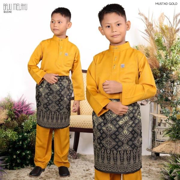 BAJU MELAYU BUDAK MUSTARD - moff collection