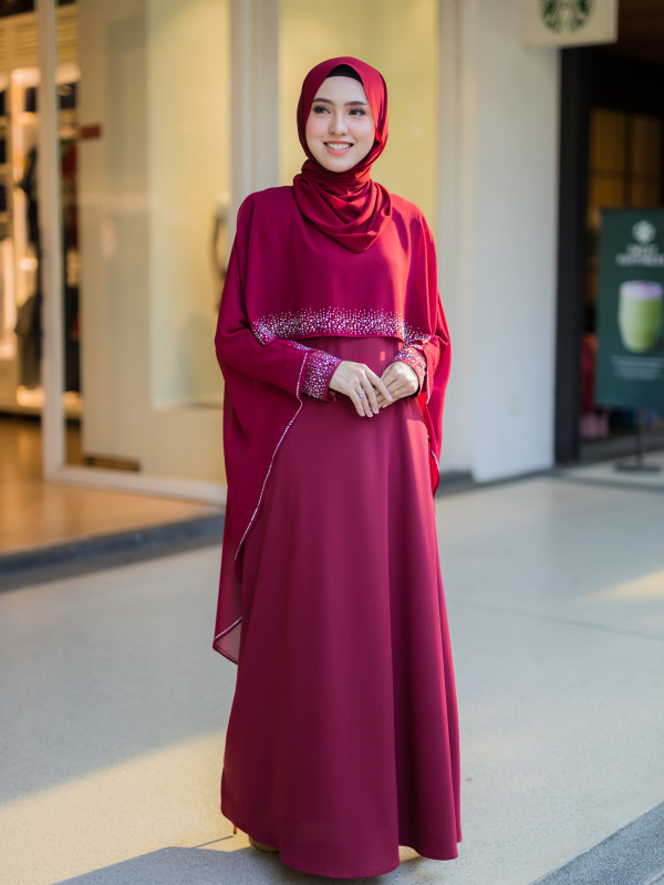 JUBAH RATU ARAB MAROON - moff collection