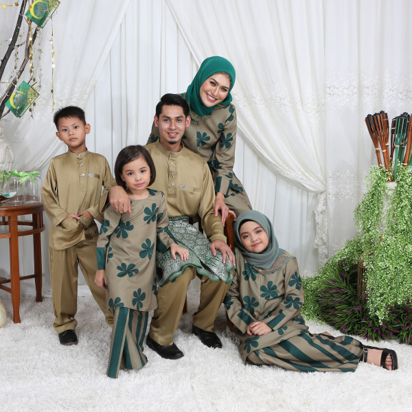 KURUNG MODEN RIAU RETRO OLIVE - moff collection