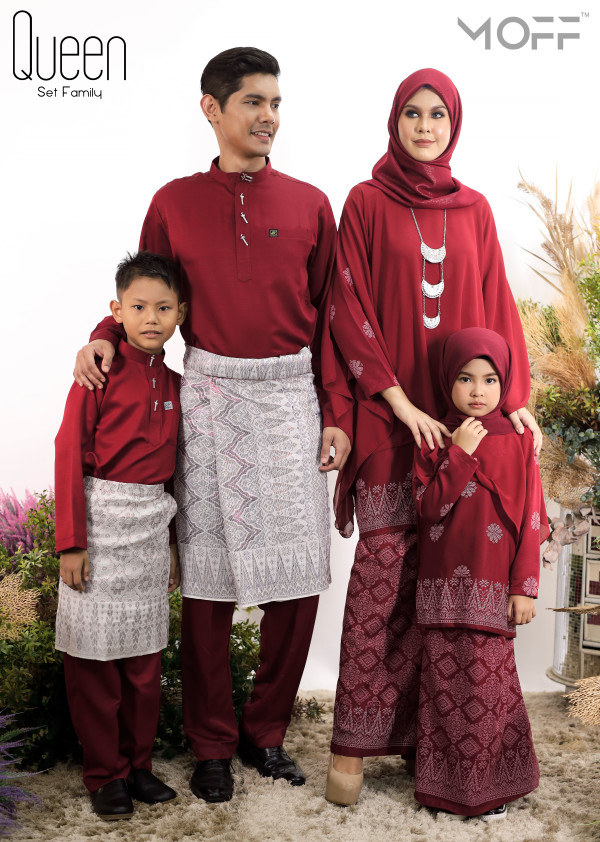 SET FAMILY KURUNG QUEEN MAROON - moff collection