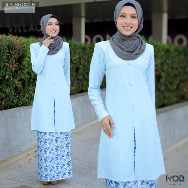 Kurung Oxalis In Baby Blue - moff collection