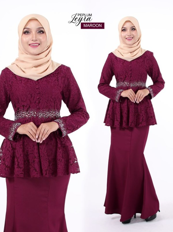 PEPLUM LEYRA MAROON - moff collection