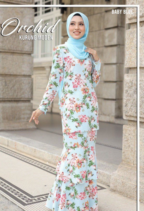 KURUNG MODEN ORCHID BABY BLUE - moff collection