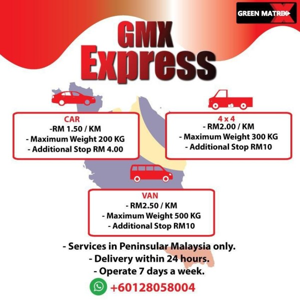 GMX EXPRESS BY CAR RM1.50 PER KM (UP TO 100KM ONLY) - COVSTORE