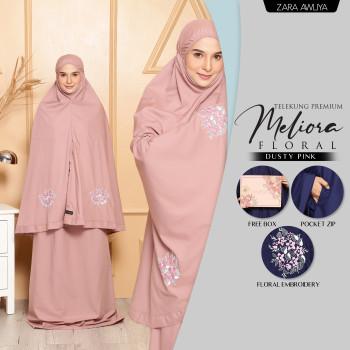 Telekung Meliora Floral (Poket) - Dusty Pink
