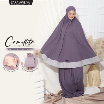 Telekung Camellita - Purple Plum (Ready Stock)