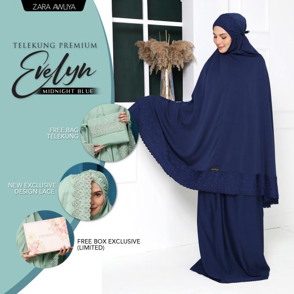Telekung Premium EVELYN - Midnight Blue - ZARA AWLIYA