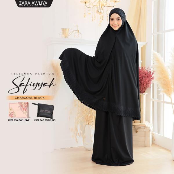 Telekung Premium Safiyyah - Black - ZARA AWLIYA