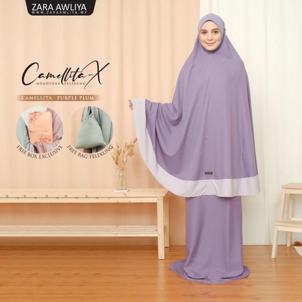 Telekung Camellita-X - Purple Plum  (Ready Stock) - ZARA AWLIYA