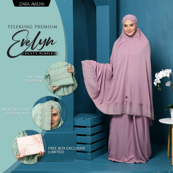 Telekung Premium EVELYN - Dusty Purple - ZARA AWLIYA