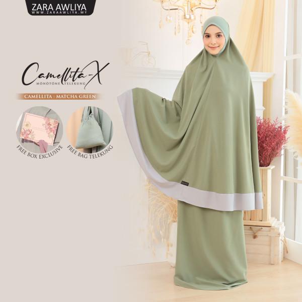 Telekung Camellita-X - Matcha Green (Ready Stock) - ZARA AWLIYA