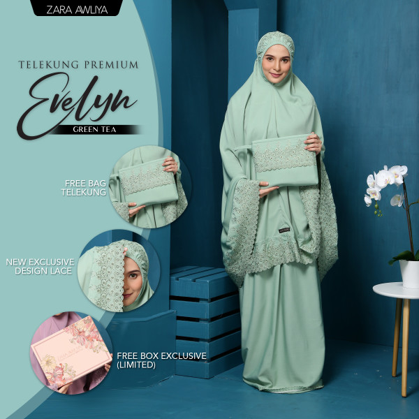 Telekung Premium EVELYN - Green Tea - ZARA AWLIYA