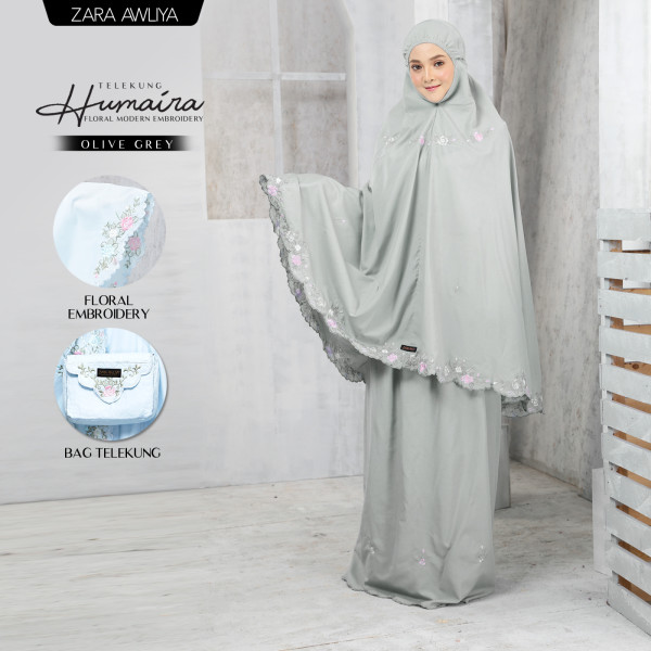 Telekung HUMAIRA - Olive Grey - ZARA AWLIYA