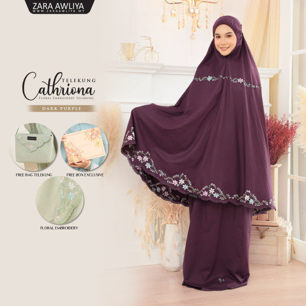 Telekung Cathriona - Dark Purple - ZARA AWLIYA