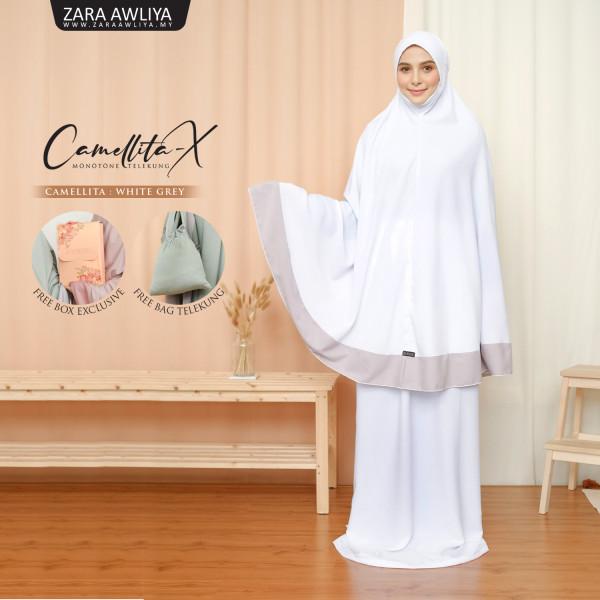 Telekung Camellita-X - White Grey (Ready Stock) - ZARA AWLIYA