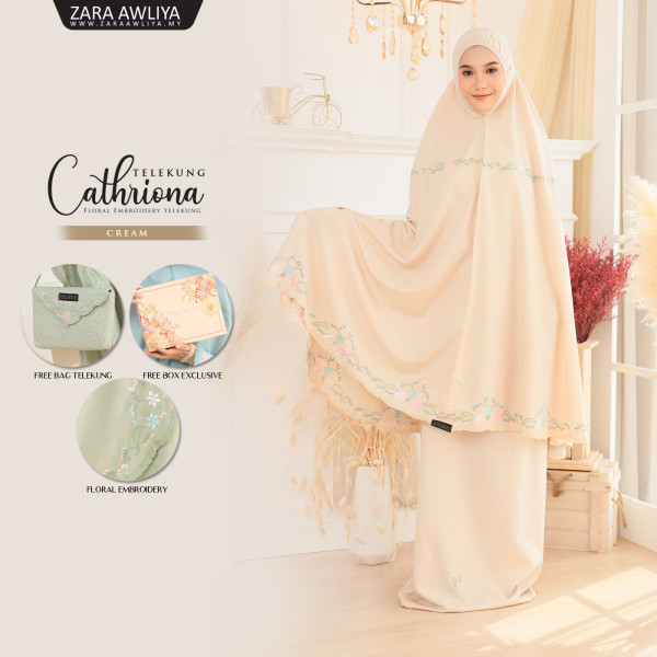 Telekung Cathriona - Cream - ZARA AWLIYA