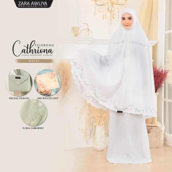 Telekung Cathriona - White - ZARA AWLIYA