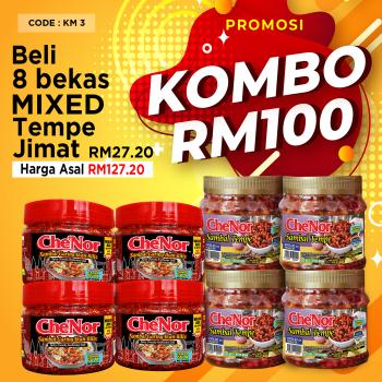 KOMBO MIXED SET - 8 Bekas - Sambal Garing Che'Nor Official
