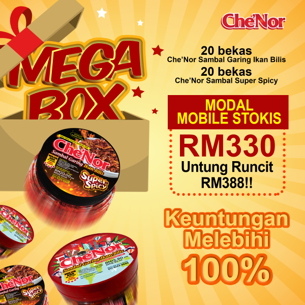 [MOBILE STOCKIST] - Che'Nor Mega Box - Sambal Garing Che'Nor Official