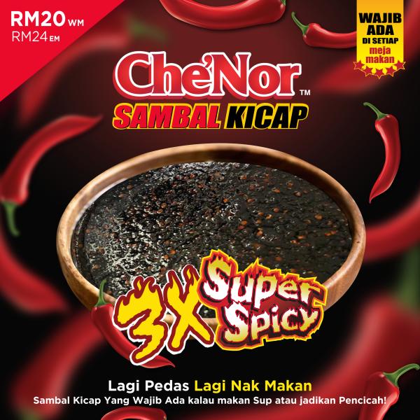 [ RESTOCK ] - Che'Nor Sambal Kicap - 500gm x 8 Bekas - Sambal Garing Che'Nor Official