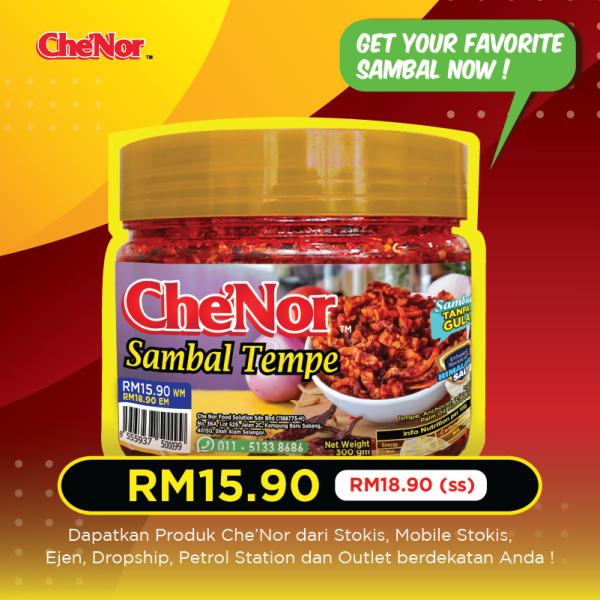 Che'Nor Sambal Tempe (300gm)  x 1pc  - Sambal Garing Che'Nor Official