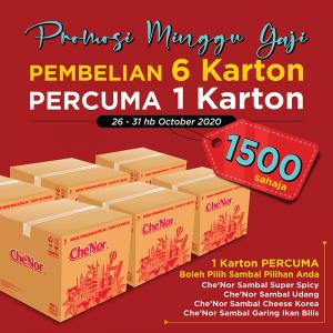 PROMOSI MINGGU GAJI - 6 Karton PERCUMA 1 Karton - Sambal Garing Che'Nor Official