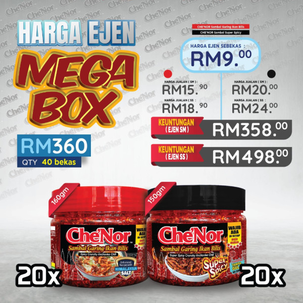 [ EJEN ] CHE'NOR Mega Box 40pcs - Sambal Garing Che'Nor Official
