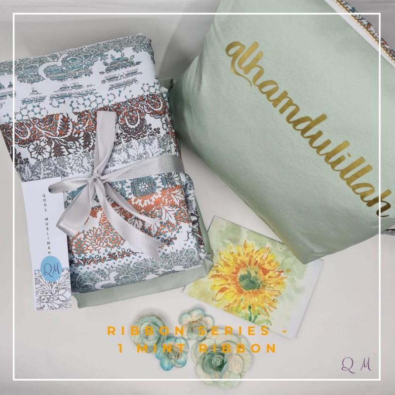 P26. Telekung / Mukena Armani Silk Zigzag Series - Coffee Zigzag - Qool Muslimah