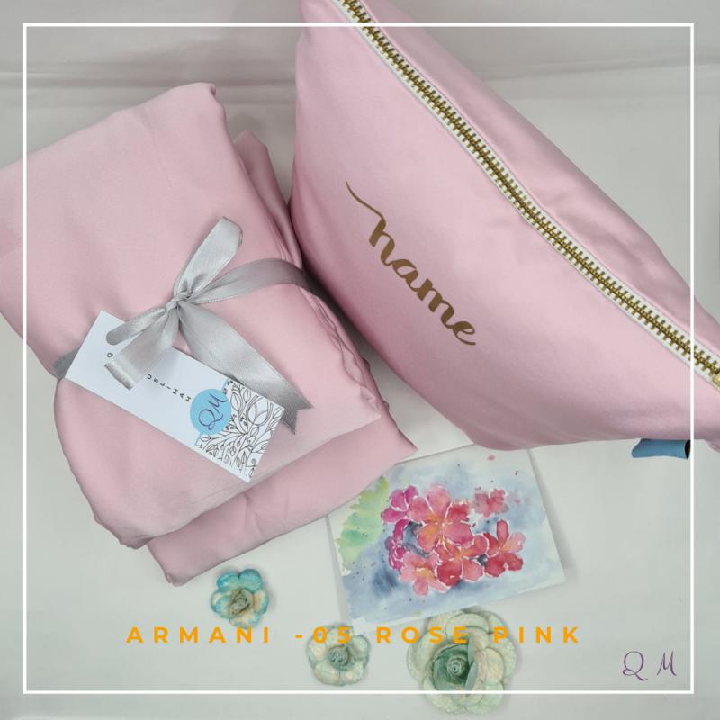 05. Telekung / Mukena Armani Silk - Rose Pink