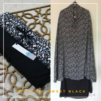 Telekung / Mukena Rayon - Abstract Black - Qool Muslimah