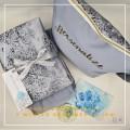 P15. Telekung Armani Silk Medallion Series-Winter Blue Medallion - Qool Muslimah