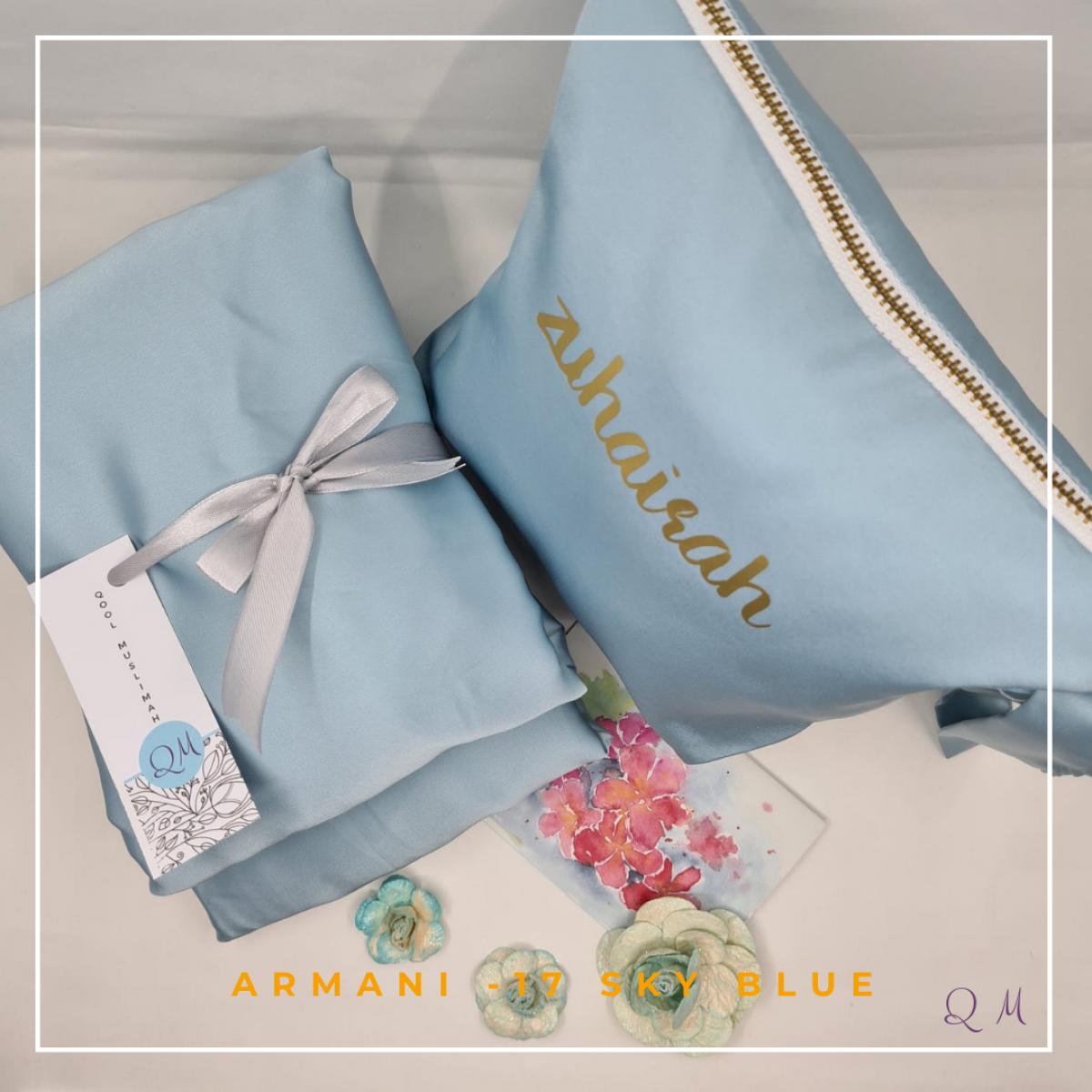 17. Telekung / Mukena Armani Silk - Sky Blue - Qool Muslimah