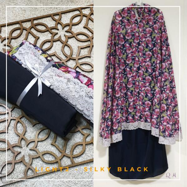 Travel Chiffon Silky - Black Pink - Qool Muslimah