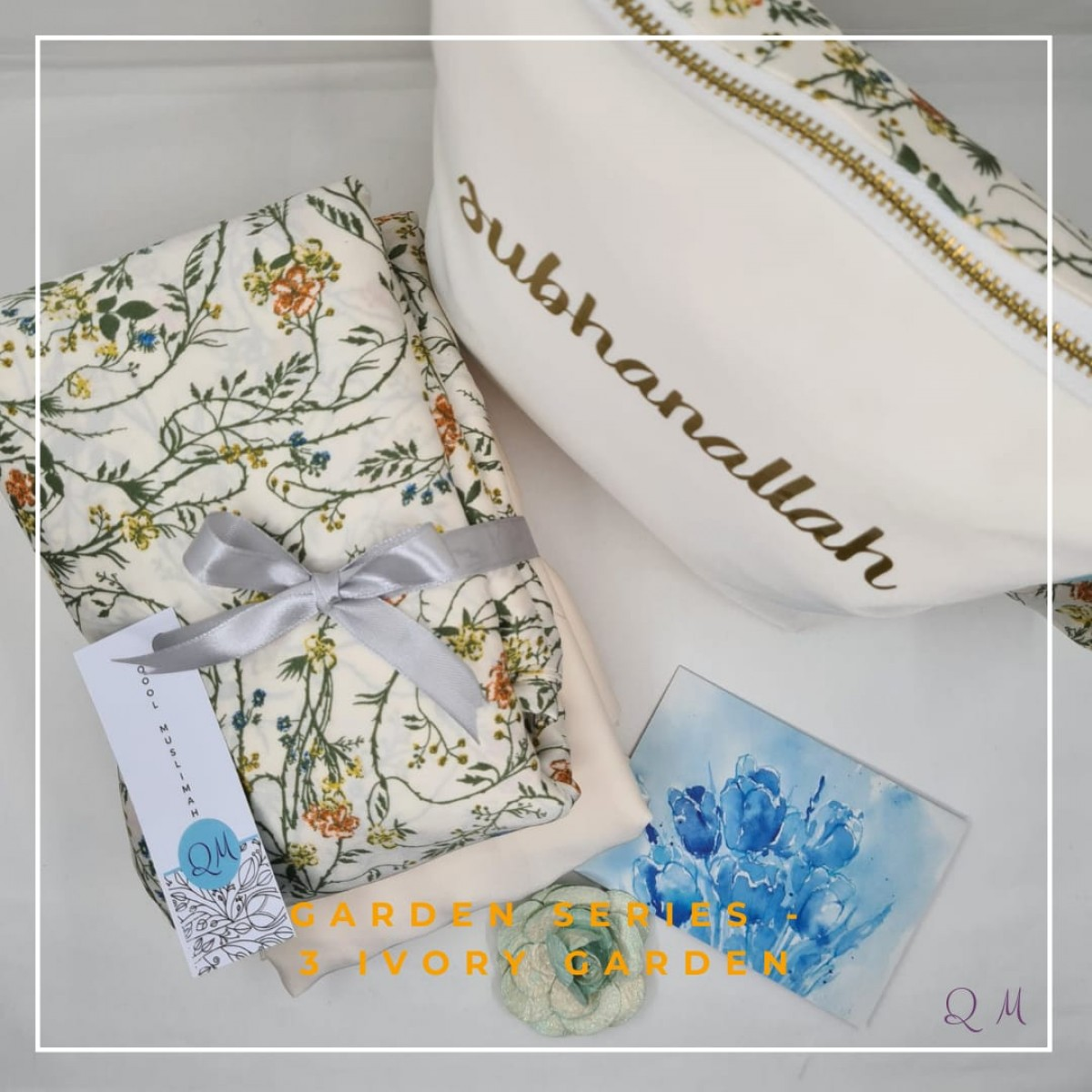 P5. Telekung/Mukena Armani Silk Garden Series - Ivory Garden - Qool Muslimah