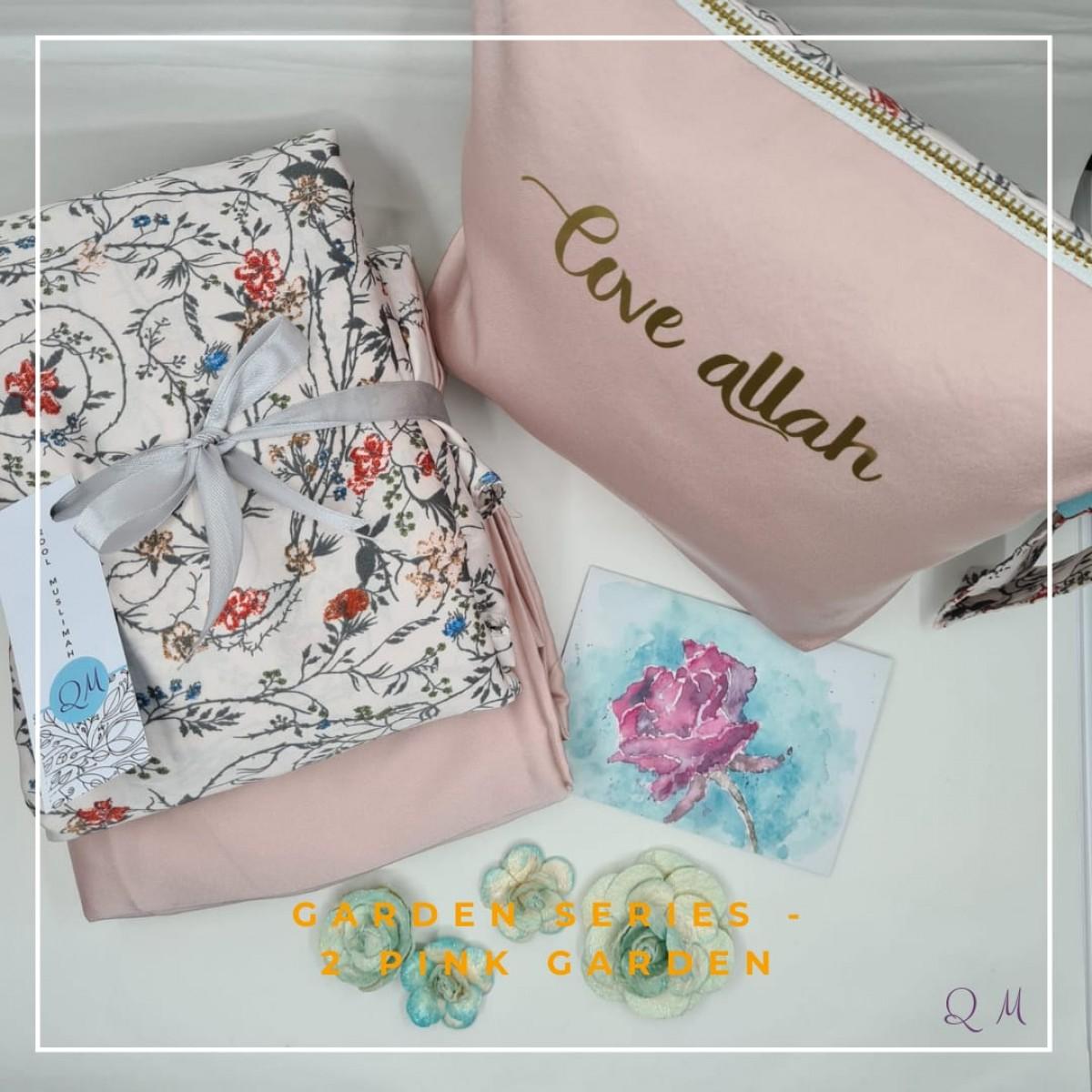 P4. Telekung/Mukena Armani Silk Garden Series - Pink Garden - Qool Muslimah
