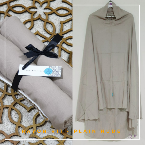 Telekung / Mukena Rayon - Plain Nude - Qool Muslimah