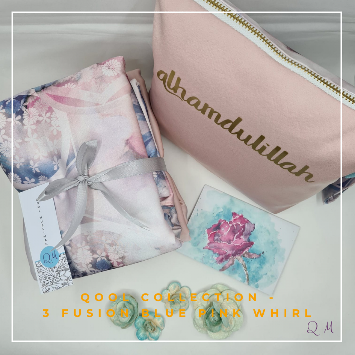 P24. Telekung/Mukena Armani Silk - Fusion Blue Pink Whirl - Qool Muslimah